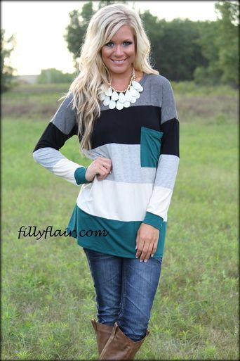 Colorblock Tunic in GREEN - Filly Flair