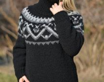 Bestel handgemaakte wollen trui IJslandse trui hand gebreide trui wol jumper dikke tneck Nordic zachte trui dikke wollen trui Dukyana
