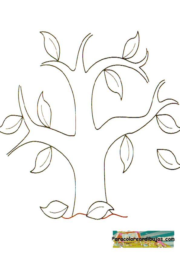 Encantador Páginas Para Colorear De árboles Con Hojas Cresta ...