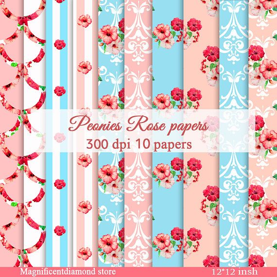 Hey, I found this really awesome Etsy listing at https://www.etsy.com/listing/539159944/peonies-rose-paperrose-pattern