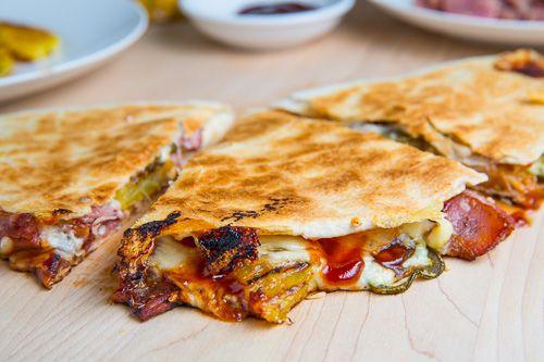 , Bacon and Pineapple Quesadillas (aka BBQ Hawaiian Pizza Quesadillas ...