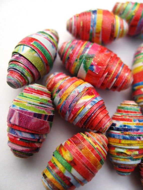 1 Dozen Half Inch Flower Paper Beads by TwistedPlanetBeads on Etsy