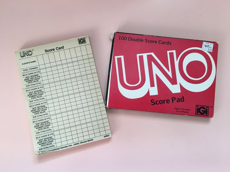 1978 Vintage Uno Score Pad - 100 Double Score Cards - International Games Inc. - card games - score card by MuppetLoveVintage on Etsy