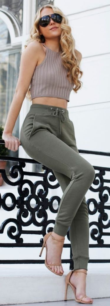 #summer #fashion #outfitideas Taupe Crop + Khaki Joggers