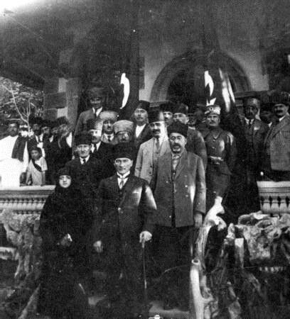 Gazi M. Kemal and Latife Hanım before the Grand National Assembly Building in Ankara, 1922.