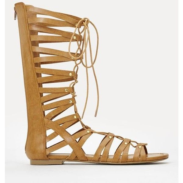 Justfab Flat Sandals Melita ($40) ❤ liked on Polyvore featuring shoes, sandals, brown, strappy flat sandals, flat platform sandals, strappy sandals, platform sandals and flat sandals