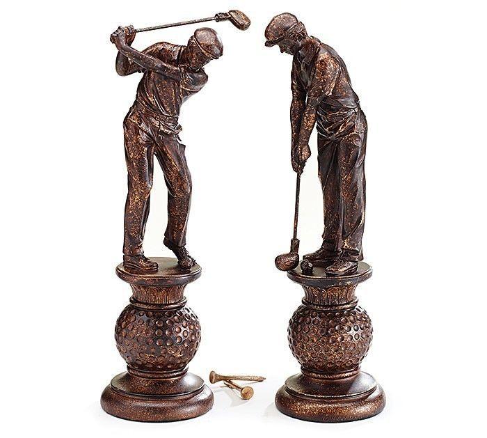 "Pair Golfer Golfing Figurines 13"" Tall Bronze Color burton+BURTON New Gift Boxed #burtonBURTON"