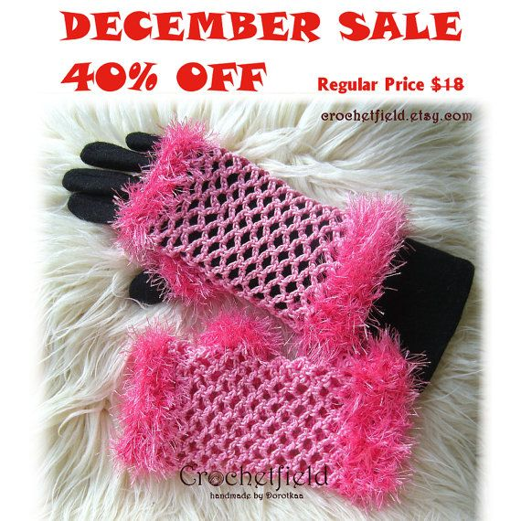 December Sale 40% OFF Candy pink Crochet Mittens by Crochetfield