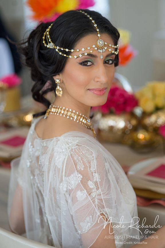 As Seen in Lavish Dulhan Magazine. Photos by www.kristafox.com  #Airbrush #Makeup #Hair & #Dupatta pinning by www.nicolerichard... #indian #bride #wedding #blackeyeliner #headpiece #jewellery  #greeneyeshadow #gown #ClairePettibone #updo