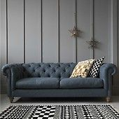 Wool Chesterfield - Two Seater or Three Seater available in Flint or Cobalt