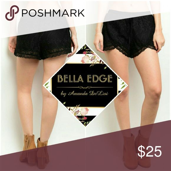 Black crochet shorts 100% POLYESTER. These crochet shorts feature full lining, a gathered waistline and a crossover scalloped trim. Bella Edge Boutique  Shorts