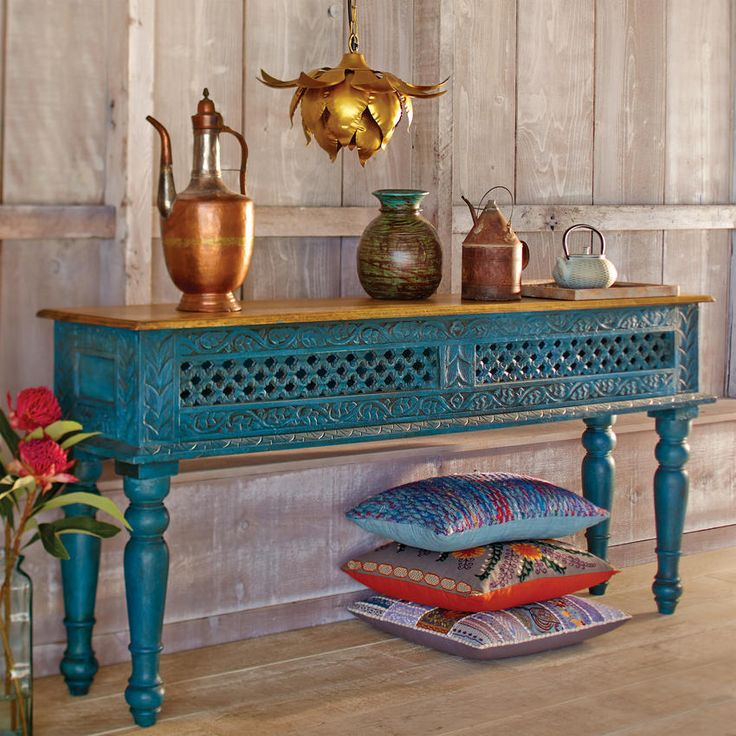 MANGO WOOD CONSOLE TABLE HAND-CRAFTED IN INDIA| World Market.  This is gorgeous …