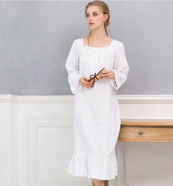 Princesse Film Star Blanc chemise de Nuit Longue Chemise de Nuit Plus La Taille Chemise De Nuit Grande Taille NUISETTE Femmes vêtements de Nuit En Coton