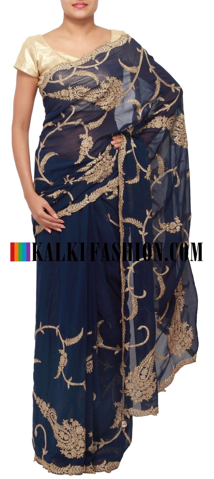 Get this beautiful saree here: http://www.kalkifashion.com/navy-blue-saree-embellished-in-sequence-only-on-kalki.html Free shipping worldwide.