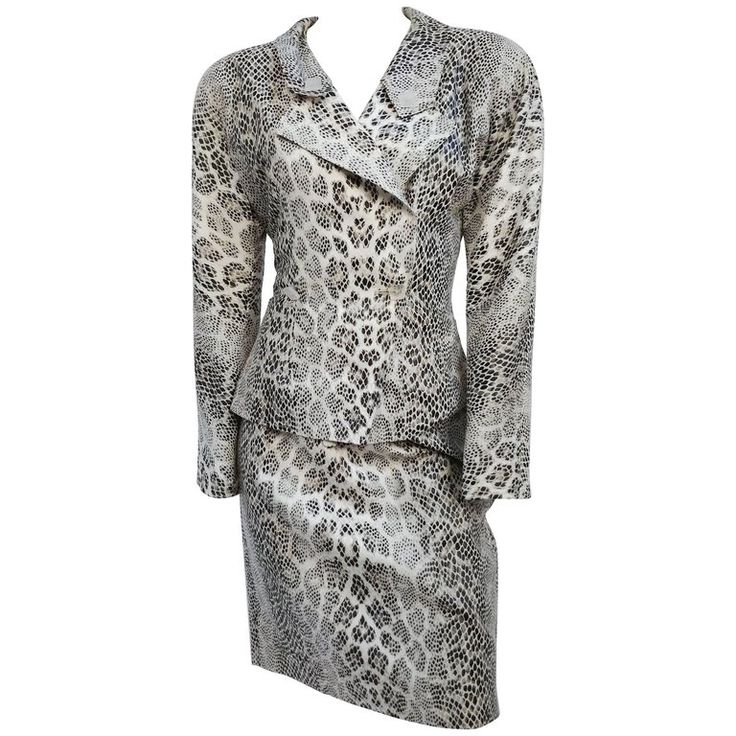 1980s Jean Muir White Snake Print Skirt Suit Set | From a collection of rare vintage suits, outfits and ensembles at https://www.1stdibs.com/fashion/clothing/suits-outfits-ensembles/