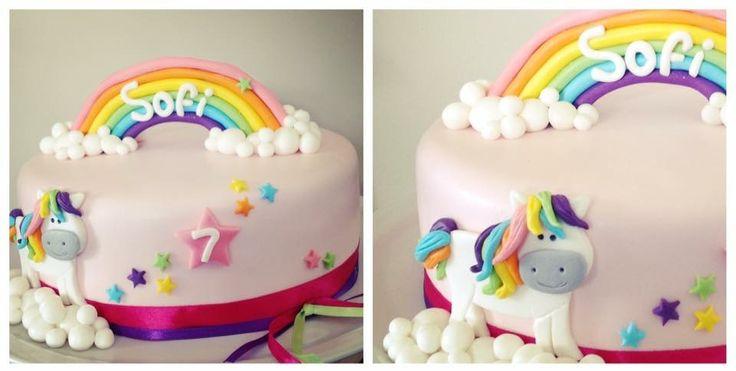 Arco iris y pony... fondant cake