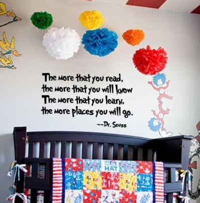 Dr seuss vinyl wall decals for kid 39 s room or nursery as for Dr seuss wall mural decals