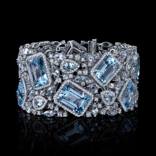 Robert Procop, Deco-inspired aquamarine and white diamond cuff.