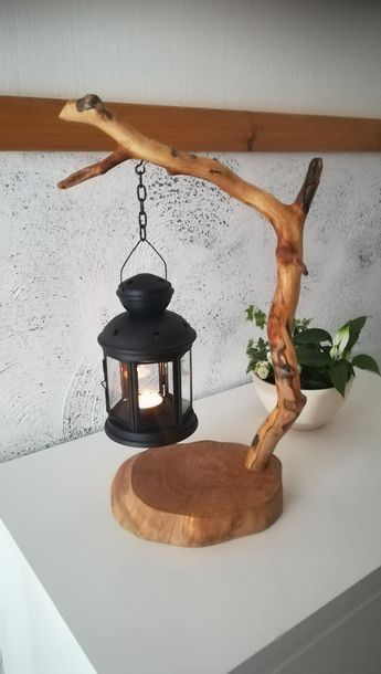 unique table tea lamp candle holder driftwood lantern wooden light DIY gift idea homedecor branch lamp natural handmade design tree crafts handmade un…