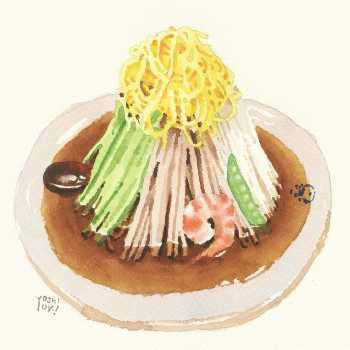 イラストレーター大崎吉之の絵・冷やし中華 /  Hiyashi-chūka (chilled noodles topped with summer veggies, ham, crab, shrimps, etc.) by an illustrator Yoshiyuki Ōsaki.