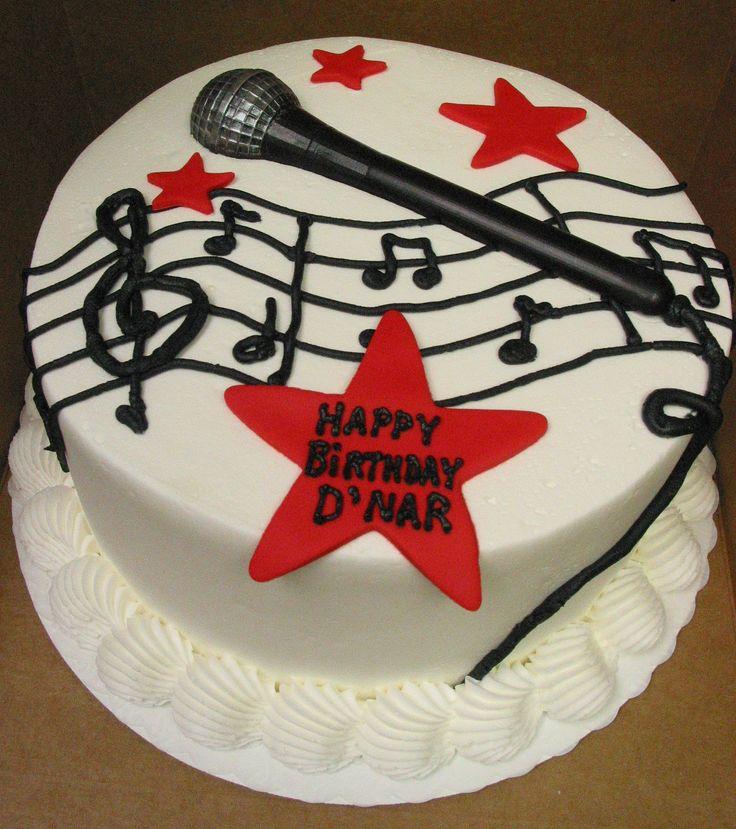 Music DJ singer microphone groom cake or birthday cake. Star.