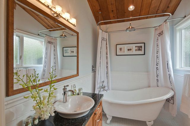 : Transitional Bathroom Design With Woodframe Wall Mirror And Curved Shower Curtain Rod Applied White Porcelain Bath Tub