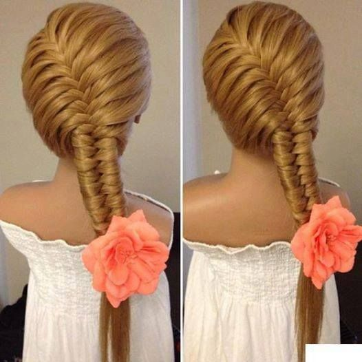 i've seen the fishbone type braid on a ponytail - but not on the whole head! very cool