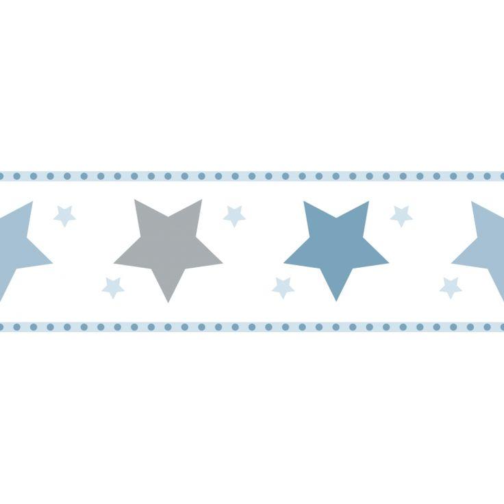 Raschtextil Bordüre 'Sterne' blau/grau, selbstklebend bei Fantasyroom online…