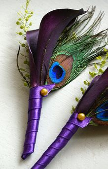 purple peacock wedding flower boutonniere, groom boutonniere, groom flowers, add pic source on comment and we will update it. www.myfloweraffair.com can create this beautiful wedding flower look.