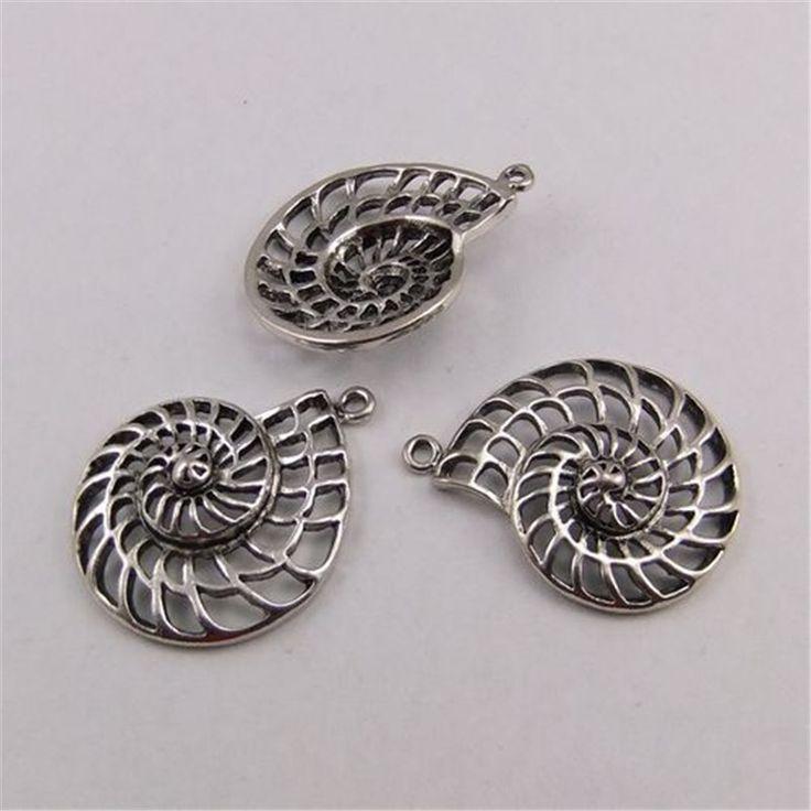 18 шт. антикварные серебряные амулеты кулон ракушки 33 * 29 мм купить на AliExpress