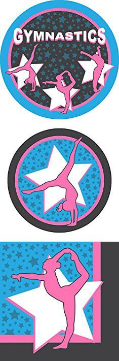 Gymnastics Party Plates. Gymnastics Standard Party Packs (65+ Pieces for 16 Guests!), Gymnastics Party Supplies, Birthday, Decorations, Competition.  #gymnastics #party #plates #gymnasticsparty #partyplates