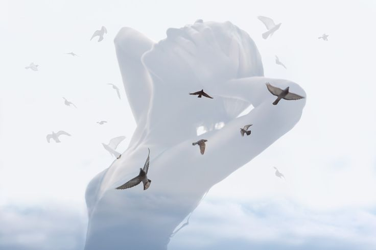 "Deep double exposure photography from the project ""Insideout"" by Grain Pixels photography Like the birds in my chest"
