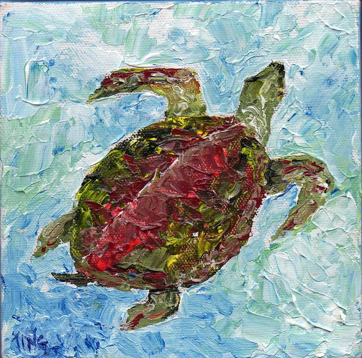 Tybee Turtle Swimming Painting  - Tybee Turtle Swimming Fine Art Print