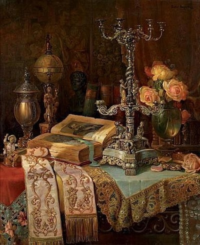 dipot:  Ludwig Augustin: Still Life with Books and Scientific Instruments on a Table  Oil on canvas, 60 × 50cm.