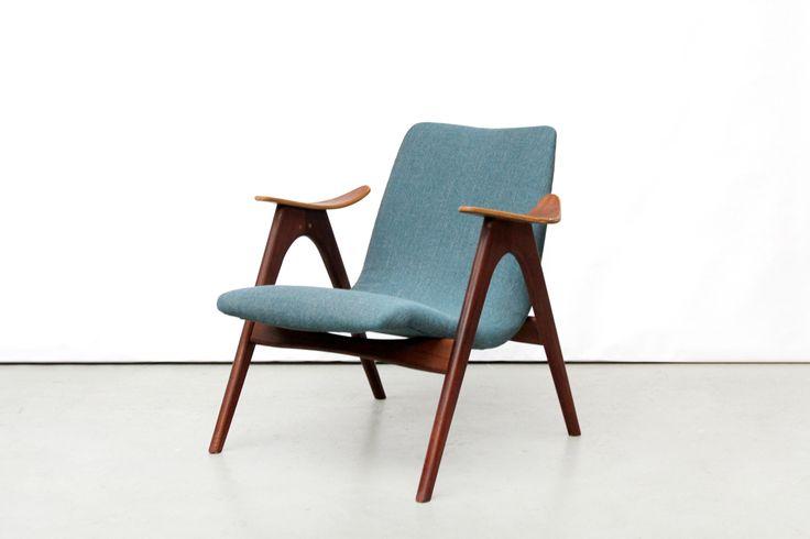 Vintage turquoise danish design chair Deens design fauteuil van OnS Amsterdam