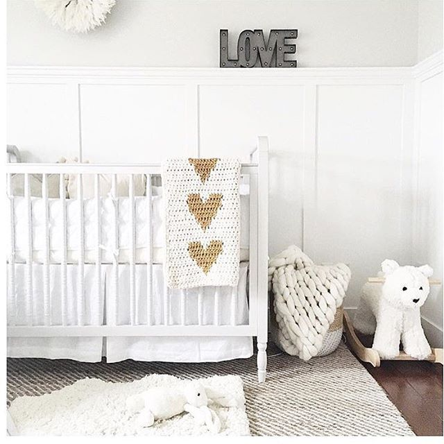 ALL white with a pop of colour!  Honest to goodness guys, I may have squealed (and even pee'd a little ) seeing my heart blankie in @jillian.harris little guys nursery! Thank you Jill for including some LFS in Leo's space! ❤️ #pinchme