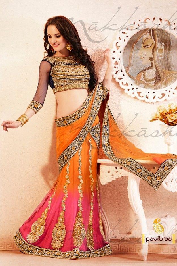 Splendorous Black, orange and pink color party wear Lehenga Choli