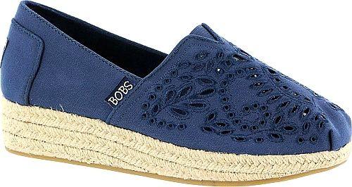 Skechers Bobs Shoes - The eyelet design on Skechers' slip-on adds elegance to the everyday espadrille. Canvas upper with elegant eyelet detail. - #skechersbobsshoes #navyshoes