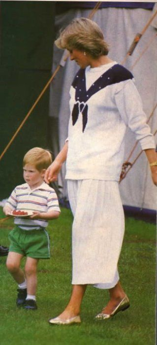 1987-06-14 Diana and Harry with his plate of strawberries at a polo match at…