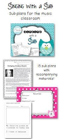 Ready-to-go sub plans for your music classroom; includes editable documents so you can revise as needed!