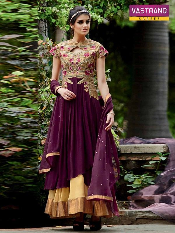 Beautiful maroon embroidered salwar kameez suit with chiffon dupatta