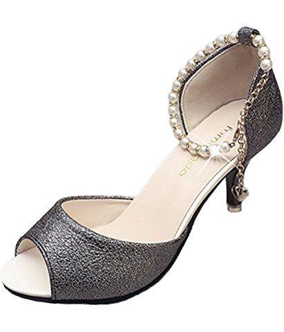 Minetom Mujer Verano Elegante Tacón Alto Hebilla Diamantes De Imitación Con Cuentas Fina Sandalias Cabeza Pescado Zapatos