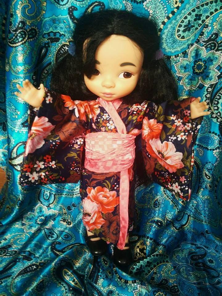Kimono for Mulan or other Disney Animators Doll.  Made by ewick (Ewa Kopka-Nowakowska. Pattern from this pin https://pl.pinterest.com/pin/296463587951466314/