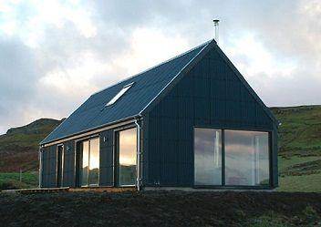 black corrugated house