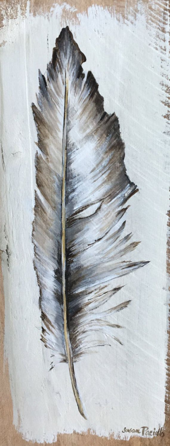 Feather Pallet Painting Distressed Wood Art Pallet Art