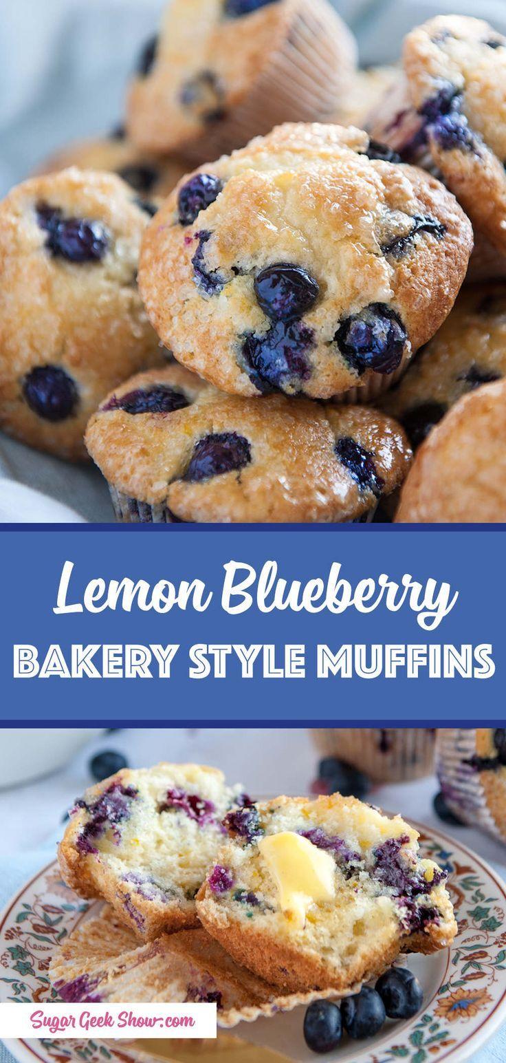 Lemon Blueberry Muffin Recipe Bakery Style Sugar Geek Show Recipe Sweet Recipes Desserts Lemon Blueberry Muffins Blue Berry Muffins