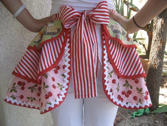 cherry apron: Tops Women, Cherries Dreams Cars, Stripes Aprons, Doll, Cherries Stripes, Cute Aprons, Women Aprons, Cherries Aprons, Aprons String