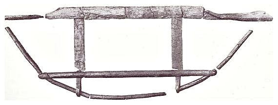 Midship section of the Hjortspring Boat. From Danmarks Oldtid by Johannes Brøndsted.