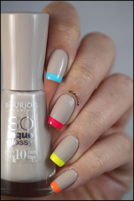 Neon French manicure (I'd like this even better with a natural looking base instead of the deep tan.)