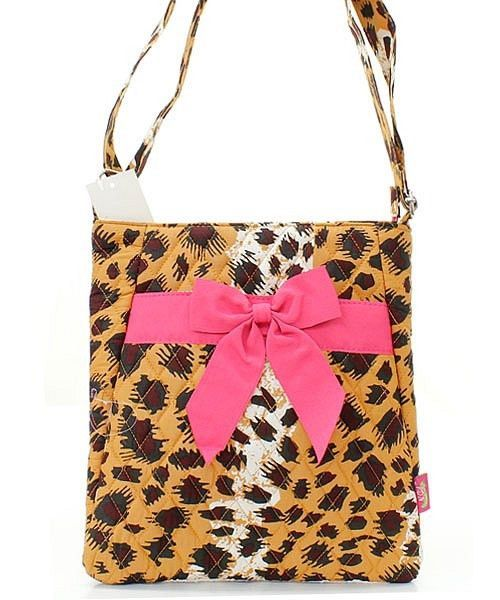 """Leopard Tan Brown Hot Pink Quilted 11"""" Crossbody Hipster Bag"""